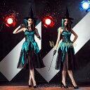 仮装レディースコスプレハロウィン衣装黒緑吸血鬼魔女コスチューム服レディースファッションパーティイベント