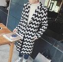 ハーフコート メンズ アウター テーラード シングル 総柄 ギザギザボーダー 細身 スリム きれいめ カジュアル メンズファッション コート