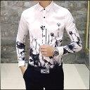 期間限定 カジュアルシャツ メンズ トップス 長袖 プリント 総柄 花柄 白 黒 インナー 細身 きれい目 大きいサイズ コーデ メンズファッション ※fu