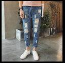 期間限定 デニム メンズ ボトムス テーパード ダメージ加工 カジュアル ペイントジーンズ メンズファッション ジーンズ ジーパン Gパン パンツ ※fu