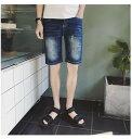 ハーフパンツ メンズ ボトムス パンツ ハーパン デニム Gパン ダメージ加工 ブリーチ カジュアル メンズファッション
