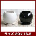 ルッカT.T HG17 7号受け皿付き   ≪植木鉢/陶器鉢/白黒磁器系≫