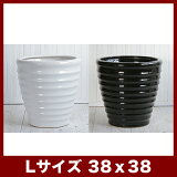 【モダン陶器鉢】植物もシンプル&モダンに飾りたい…上質なモダンデザインの白陶器鉢をリーズナブルに♪ルッカ HR1 ツヤ Lサイズ   ≪植木鉢/陶器鉢/白黒磁器系≫