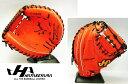 ◆送料無料◆オンネーム刺繍サービス◆ハタケヤマ≪Vシリーズ≫◆スペシャルジャパンハイドVオレンジ・硬式キャッチャーミット◆V-M8WR