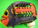 型付け無料 ミズノ MIZUNO 海外モデル 外野用 ネイビー×オレンジ×イエロー Tネットウェブ ソフトボール・野球兼用