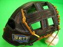 型付け無料 ゼット ZETT 海外モデル 内野用 ブラック×タンヒモ 硬式野球対応 11.5インチ 型押し革 内野 グローブ 硬式 軟式 M号 ソフト