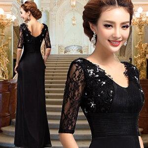 大人ロングドレス Vネック ブラック ◆レディースファ