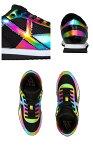 厚底スニーカー靴YRUFLASHブラックマルチ約2.5cmヒールプラットフォーム厚底靴/YRUワイアールユーインポートシューズ【サイズ交換1回OK】【送料無料】