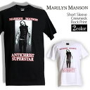 ロックTシャツ 半袖 Marilyn Manson Tシャツ マリリンマンソン バンドTシャツ メン...
