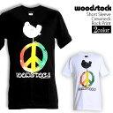 ロックTシャツ 半袖 Woodstock Festival Tシャツ ウッドストック バンドTシャツ ピースマーク メンズ レディース ロックT バンドT バンT ロゴ バンド ロゴT ダンス ミュージック ファッション ROCK ブラック ホワイト 黒 白 ヘヴィメタ コットン 綿 100% 春夏 夏物 おしゃれ