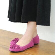 No.651201クロールバリエフラワーローヒールパンプス(レディース婦人靴女性用柔らかい軽いシンプル痛くないブラック歩きやすい履きやすいふわふわ花コサージュ)10P03Dec16