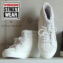 No.676151 バスクラフト VISION コラボ レイン ハイカット スニーカー(歩きやすい 靴 シンプル レースアップ 大人 ホワイト ブラック ヴィジョン 撥水 雨の日 シューズ 紐 スリッポン 限定 軽い 柔らかい)