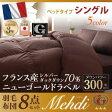 日本製防カビ消臭フランス産  ダックダウン ニューゴールドラベル 羽毛布団8点セット【Mehdi】メディ  ベッドタイプ シングル