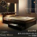【送料無料】シングルベッド マットレス付き スリムモダンライト付き 収納ベッド Cozy Moon