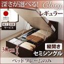 組立設置 国産跳ね上げ収納ベッド Clory クローリー ベッドフレームのみ 縦開き セミシングル 深さレギュラー(代引不可)