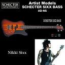 シェクター SCHECTER ベース / SCHECTER SIXX BASS AD-NS VSB アーティストモデル NIKKI SIXX ニッキー シックス サテンブラック 送料無料