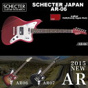 """MODEL : SCHECTER AR-06 BODY : Alder(on 3TSB,CAR,VWHT,BLK)Ash(on STBK) NECK : MapleFINGER BOARD : Pau Ferro or MapleFRETS : 24 FretsSCALE : 25 1/2"""" JOINT : Bolt-on PICKUPS : SCHECTER MONSTER TONE JSCHECTER SUPER ROCK J BRIDGE : TOM Bridge CONTROL : Volume / Tone / 3-Slide SW(F & R PU Tap,Direct SW) / Toggle SW COLOR :3TSB(3 Tone Sunburst)/ CAR(Candy Apple Red) / VWHT(Vintage White) / BLK(Black) / STBK(See-thru Black) PRICE : 155,000yen(Without Tax)with SoftCaseこちらの商品は取り寄せ商品のため、納期までしばらくお時間をいただく場合がございます。納期に関する詳細はお問い合わせ下さい。"""
