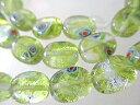 ショッピングビーズ ガラスビーズ ガラスパーツ ペリドットグリーン(クリスタル)オヴァールov−57 連1本 7x10mm
