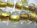 ガラスビーズ アクセサリーパーツ クリスタルゴールド(金箔色)ロンデル仕様ボタン−3ジュエリーネックレスを作ってみませんかビーズアクセサリー教室で大人気♪渋谷原...