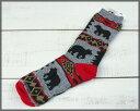 For Bare Feet Blanket Motiff Socks / outdoor Bear Blanket Grey Red フォーベアフィート ブランケット モチーフ ソックス アウトドア 厚手 ふくらはぎ丈 グレー レッド クマ柄 made in USA アメリカ製
