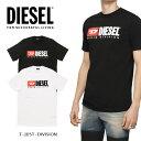 ディーゼル DIESEL メンズ Tシャツ 半袖 TEE ロゴ トップスT-JUST-DIVISION WHITE 白 ホワイト ブラック 黒フェルト 刺繍