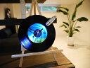 【限定1点もの】レコードクロックLEDスポットライト付き 松山千春恋ブルーアンティーク掛け時計インテリア置時計木製スタンド付き