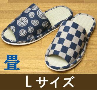 L 大小 ★ 拖鞋.草榻榻米拖鞋靛藍染色拖鞋和鞋底有塌塌米水洗拖鞋夏天