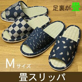 靛藍染色風 ★ 榻榻米拖鞋是夏天 Yep_100 耐水洗拖鞋草折拖鞋 M 大小日本產品