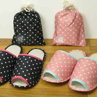 Travel series mobile slippers dot pattern DrawString bag nonstandard-size mail shipping-friendly fs3gm