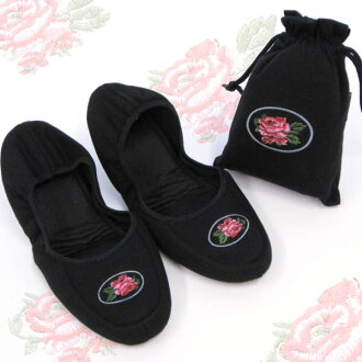 Portable slippers ★ flower embroidered black odd shaped mail