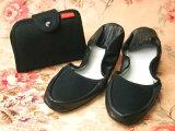 移动拖鞋/☆★成纯黑色笔记本袋型[携帯スリッパ/プレーン ブラック手帳型ポーチ入り【RCP】 fs04gm]