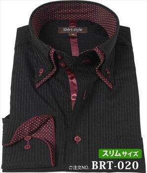 ワイシャツ黒yシャツカッターシャツドレスシャツ襟高ドゥエボットーニブラック黒ストライプビジネスシャツメンズカラーシャツブラックシャツ光沢サテン生地ホスト結婚式キレイめおしゃれオシャレスリム細身制服