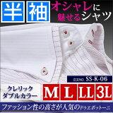 ワイシャツ 半袖 クレリック yシャツ カッターシャツ ドレスシャツ ボタンダウン ドレスシャツ m-大きいサイズ 3l レッド 赤 白 ストライプ 2枚襟 ダブルカラー クールビズ ビジネス 結婚式