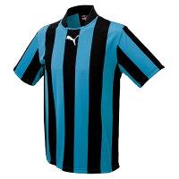 【プーマ】 ストライプ半袖ゲームシャツ [カラー:ブラック×サックス] [サイズ:L] #903295-02 【スポーツ・アウトドア:サッカー・フットサル:メンズウェア:シャツ】の画像