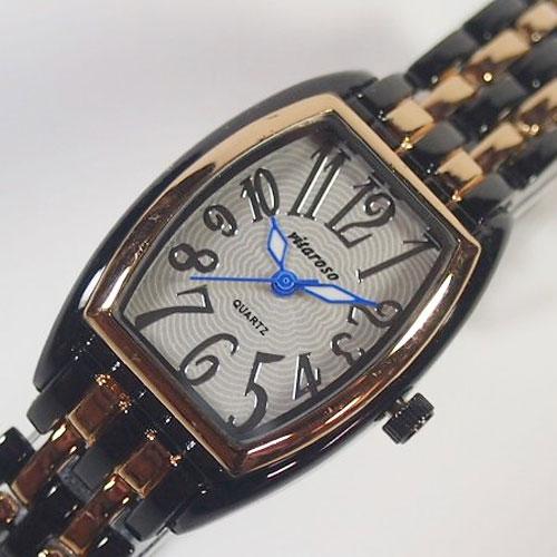 VITAROSO レディース腕時計 メタルウォッチ 日本製ムーブメント ブラック ゴールド 生活防水
