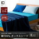 国産シーツ・プレーンコレクション【ベッド用ボックスシーツ】キングサイズ(180×200×25cm)