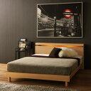 ベッド ベット 照明付き セミダブル ブラウン ベージ