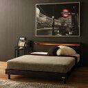 ベッド ベット 照明付き ダブル ブラウン ベージュ 幅