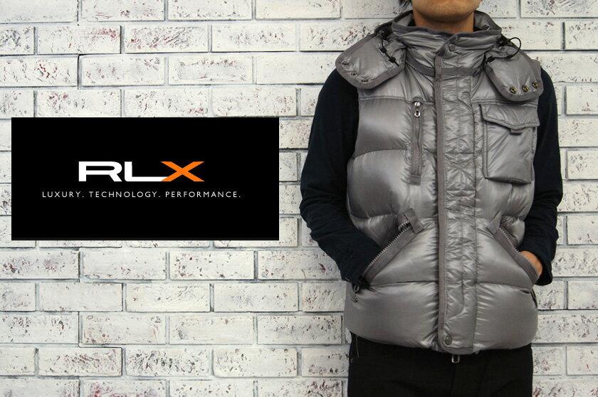RLX  ラルフローレン RLX WATER REPELLENT フード付き ダウン ベスト/GRAY  あす楽