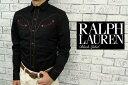 BLACK LABEL by Ralph Lauren  ラルフローレン ブラックレーベル レザー パインピング ウエスタン シャツ/BLACK