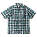 GOOD ENOUGH (グッドイナフ) ロゴプリントシャーリング半袖チェックシャツ ネイビー×グリーン L 【メンズ】【K2275】【中古】【あす楽☆対応可】