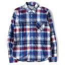 ANGLAIS (アングレー) タータンチェックコットンボタンシャツ ブルー L 【メンズ】【美品】【K2504】【中古】【あす楽☆対応可】