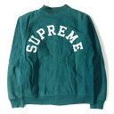 Supreme (シュプリーム) 13A/W アーチロゴスウェットスタジャン(Snap Front Arc Logo) ダークティール M 【メンズ】【K2111】【中古】