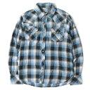 TMT (ティーエムティー) 14S/S ウエスタンチェックガーゼネルシャツ(L/SL STANDARD CHECK SHIRT) ブルー×ブラック S 【メンズ】【美品】【K2251】【中古】【あす楽☆対応可】