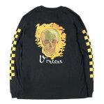 VANS (バンズ) Tシャツ 18SS ×Van Gogh Museum バックスカルロングスリーブTシャツ(Skull LS BF TEE) ブラック L