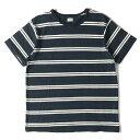 PHIGVEL フィグベル Tシャツ 15SS インディゴ ボーダー クルーネック Tシャツ OLD BORDER TEE インディゴ×ホワイト 1 【メンズ】【中古】【K2650】