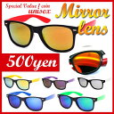 ワンコイン500円サングラスウェイリントンフレーム ミラー レンズ サングラス(UVカット ウェリントン カラー フレーム クラシックミラーレンズ メンズ レディース