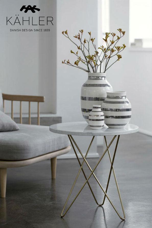ケーラー Kahler フラワーベース シルバー スモール Omaggio Vase Silver(S) 15211北欧 花瓶 陶器 花びん 北欧 インテリア ギフト プレゼント