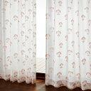 【BELLE MAISON】ベルメゾン 【58サイズ】もこもこパイルのUVカット・ミラーレースカーテン 「しゃくやくの花」 ◆約100×88(2枚) 約10..
