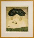 岩切裕子 額付き木版画 船出する書物(2000年)